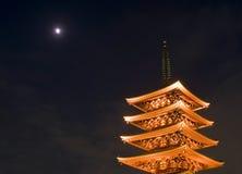 De Boeddhistische tempel van Sensoji bij nacht Stock Afbeelding