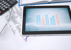 De boek, calculator, document en tabletcomputer Stock Foto