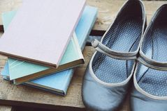 De boeken in pastelkleuren en retro grijs vlak-soled schoenen op de houten plank Royalty-vrije Stock Fotografie