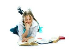 De boeken van de het meisjeslezing van de student Royalty-vrije Stock Afbeeldingen