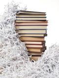 De boeken van de toren op strokendocument Stock Afbeelding