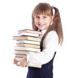 De boeken van het schoolmeisje witn Stock Foto