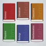 De boekenpictogrammen van het schoolonderwijs Stock Fotografie