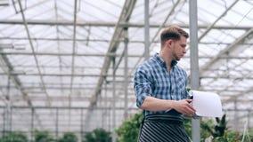De boekhouding van de bloemistholding van installaties in serre stock video