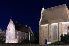 De boekmagen & de Collegiale kerk van Maagdelijke Mary. Poznan. Polen royalty-vrije stock fotografie