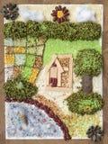 De boerderij van de collagekunst met rijk milieumiddel Creatieve idee van nature materiële ambachten stock afbeelding