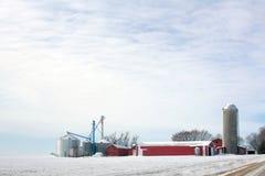 De Boerderij van de prairie in de Winter Stock Afbeeldingen