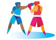 De bokser begint met een vlugge aanval van een tegenstander stock illustratie