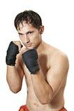 De bokser is in beschermingspositie Stock Fotografie