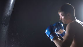 De bokser slaat bokserpeer