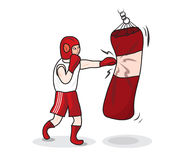 De bokser slaat een in dozen doende peer Royalty-vrije Stock Afbeelding