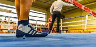 De bokswedstrijd - Vigo - Spanje stock foto's
