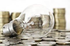 De bol die van de gloeidraad op muntstukken ligt Royalty-vrije Stock Afbeelding
