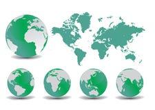 De bol en de kaart van de aarde Stock Foto's