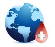 De bol van de aarde in een bloeddaling Stock Foto's