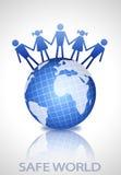 De bol van de aarde met mensenvormen Royalty-vrije Stock Afbeelding