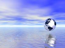 De bol van de aarde over blauwe oceaan Stock Fotografie