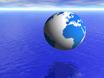 De bol van de aarde over blauwe oceaan en bewolkte hemel vector illustratie