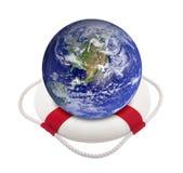 De bol van de aarde in reddingsboei Stock Afbeeldingen
