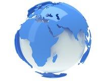 De bol van de aardeplaneet. 3D geef terug. De mening van Afrika. Stock Afbeeldingen