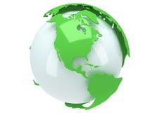 De bol van de aardeplaneet. 3D geef terug. De mening van Amerika. Stock Fotografie