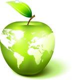 De Bol van de appel met de Kaart van de Wereld Royalty-vrije Stock Foto's