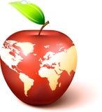 De Bol van de appel met de Kaart van de Wereld Royalty-vrije Stock Afbeeldingen