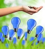 De bol van de Ecoenergie van zonnepanelen stock afbeelding