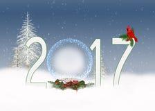 De bol van de Kerstmis 2017 sneeuw met kardinaal Royalty-vrije Stock Foto