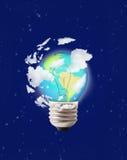 De bol van de lamp op blauwe hemelcollage royalty-vrije illustratie