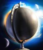 De bol van de metaaldesktop met zon en maan Stock Foto