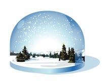 De bol van de sneeuw met een landschap van Kerstmis Stock Fotografie