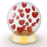De bol van de sneeuw met rode harten Royalty-vrije Stock Foto