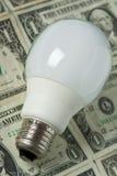 De bol van de verlichting met geld op achtergrond Stock Afbeelding