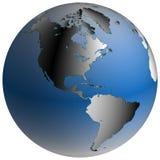 De Bol van de wereld: Amerika, met blauw-in de schaduw gestelde oceanen Stock Foto's