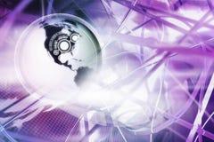 De bol van de wereld binnen gegevenslijnen Stock Afbeeldingen