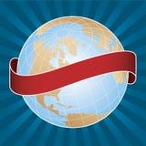 De Bol van de wereld met radiale achtergrond Royalty-vrije Stock Afbeelding