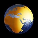 De bol van de wereld op zwarte achtergrond stock illustratie