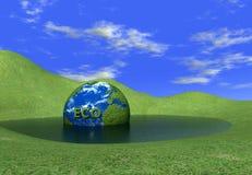 De bol van Eco in water royalty-vrije illustratie