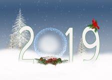 De bol van de Kerstmis 2019 sneeuw royalty-vrije illustratie