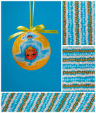 De bol van Kerstmis, weinig engel en koorden van parels Stock Fotografie