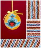 De bol van Kerstmis, weinig engel, koorden van parels Royalty-vrije Stock Afbeelding