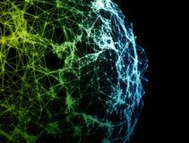 De bol van netwerkverbindingen op zwarte achtergrond Stock Afbeelding