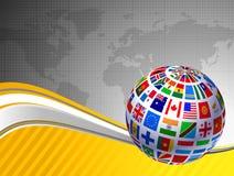 De Bol van vlaggen met de Kaart van de Wereld Royalty-vrije Stock Foto's