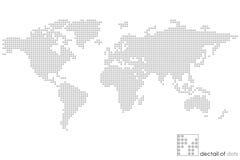 De bolkaart van de wereld: gestippeld - raadsel vector illustratie