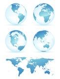 De bollen en de kaart van de aarde Stock Fotografie