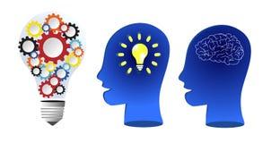 De bollen hebben binnen een kleurrijke weerslag om het idee te duwen Doel en hersenengebruik en rijk blauw silhouet Witte zieke a stock afbeelding