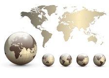 De bollen van de aarde en kaart van de wereld Stock Foto's