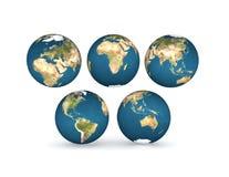 De bollen van de aarde met vijf continenten Stock Foto