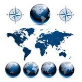 De bollen van de aarde met wereldkaart Stock Afbeelding